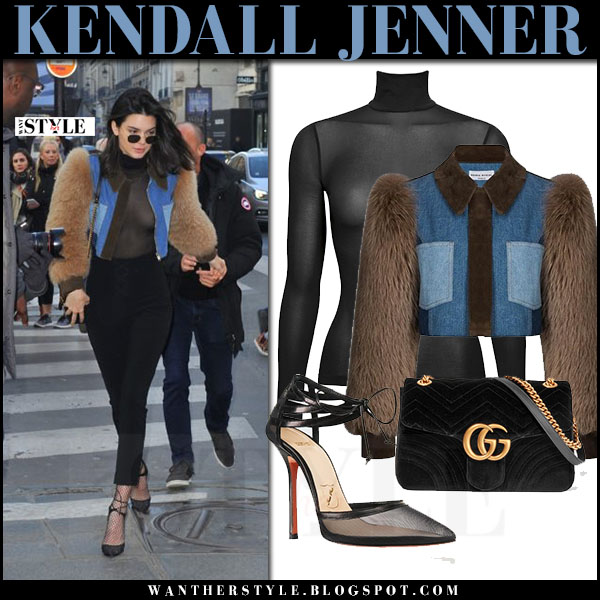 Kendall Jenner in fur sleeve denim jacket sonia rykiel and sheer black turtleneck top wolford what she wore paris streetstyle