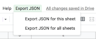 Screenshot of Google spreadsheet with Export JSON menu