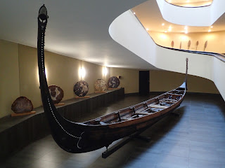 Stern view of a Solomon Islands mon canoe at the Vatican.
