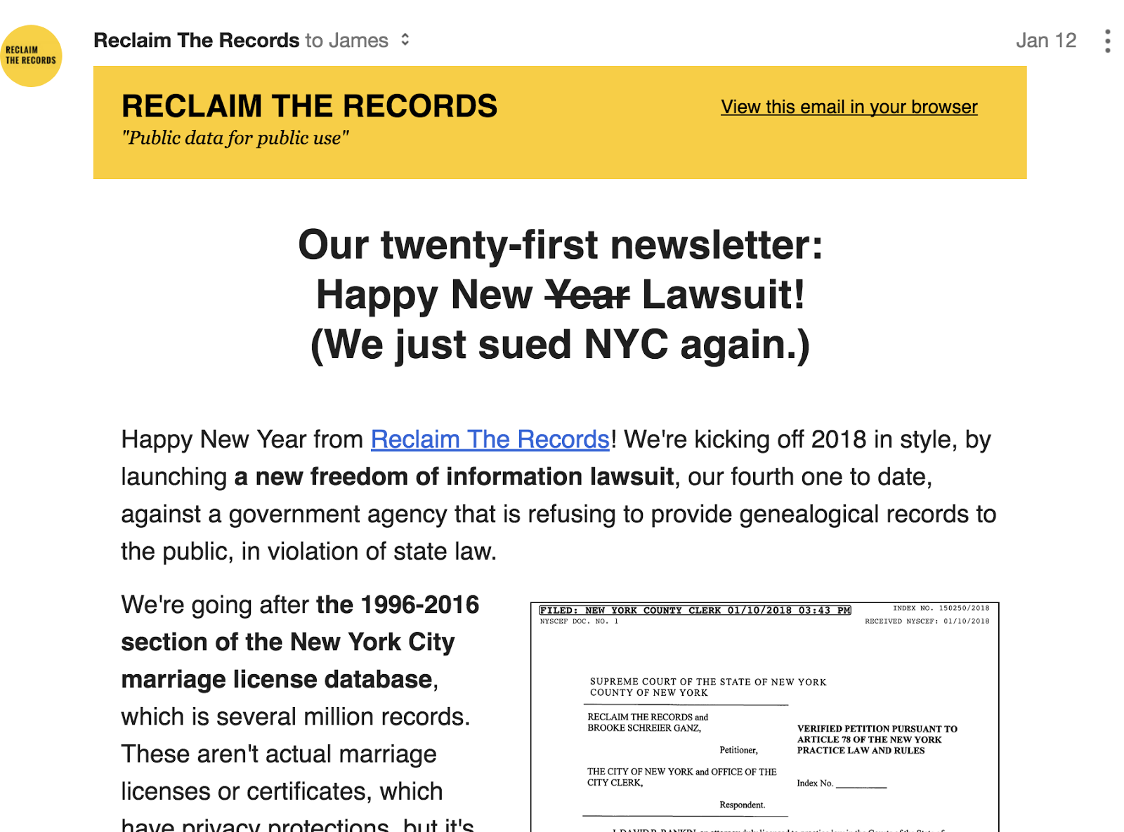 Genealogy's Star: New FOI Lawsuit filed by Reclaim the