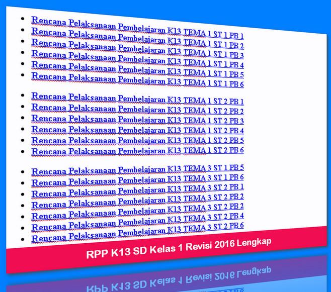 RPP K13 SD Kelas 1 Revisi 2016 Lengkap