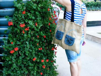 geanta din panza de sac handmade