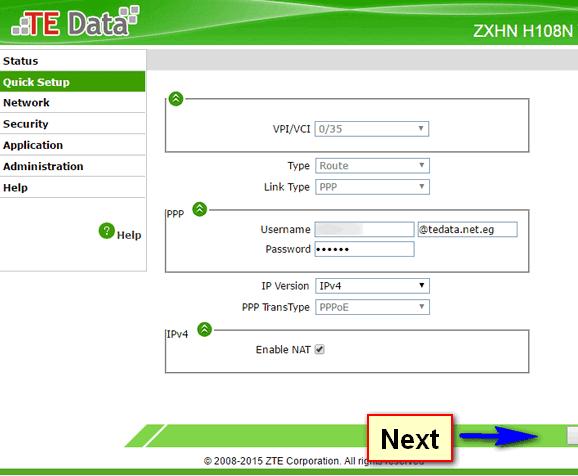 ضبط إعدادات راوتر تى اى داتا ZTE