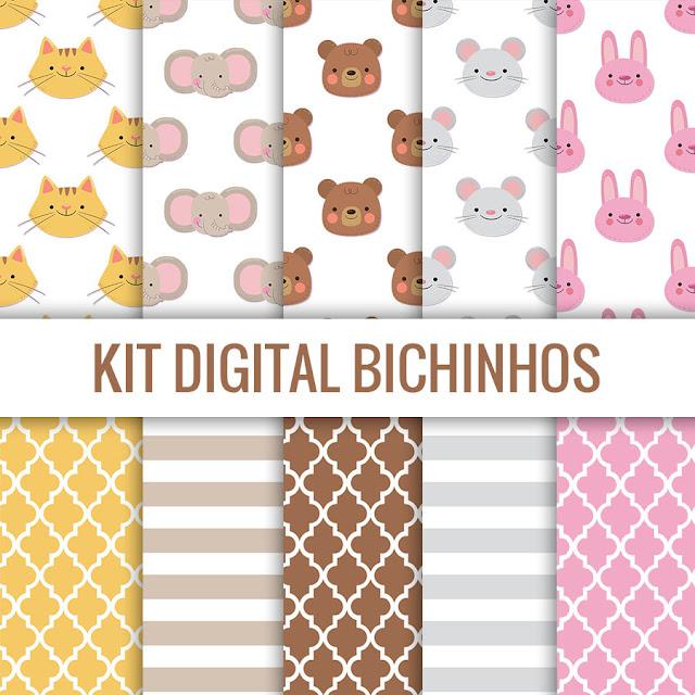 Kit digital Safari bichinhos cute free para baixar