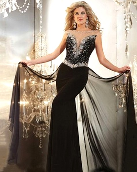 Best Trumpet/Mermaid Black Chiffon Tulle with Beading Watteau Train Evening Dress -Price: $174.59 ( 54.0% OFF )