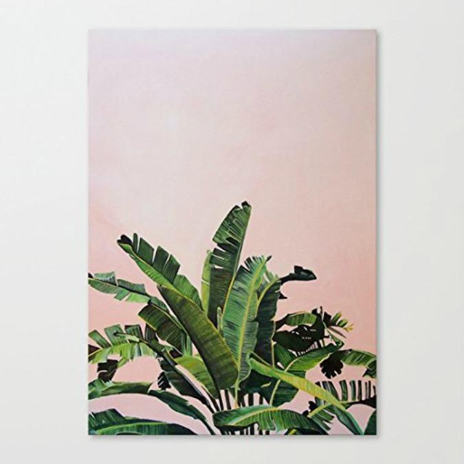 palm leaves on pink print