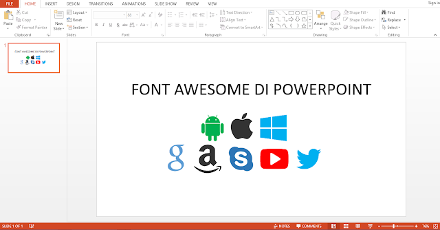 install font awesome di power point