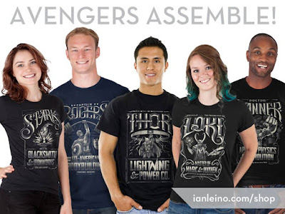 Marvel's The Avengers Vintage Business Advertisement T-Shirt Collection by Ian Leino - Captain America, Iron Man, Thor, Hulk & Loki