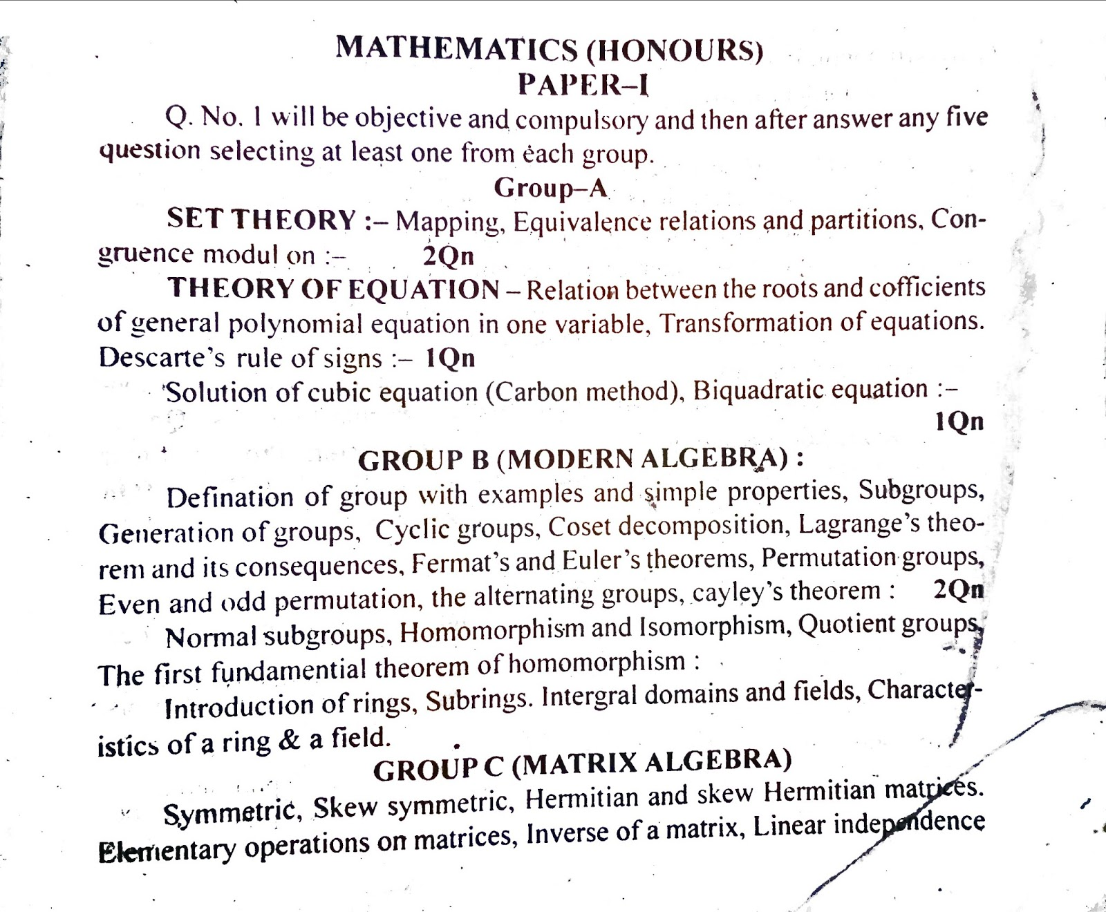 B A  and B Sc  1,2, and 3 year syllabus for TMBU: MATH HONOURS PART-I