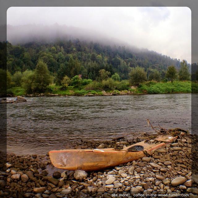 rzeka, las, mgła, dunajec, zniszczony kajak