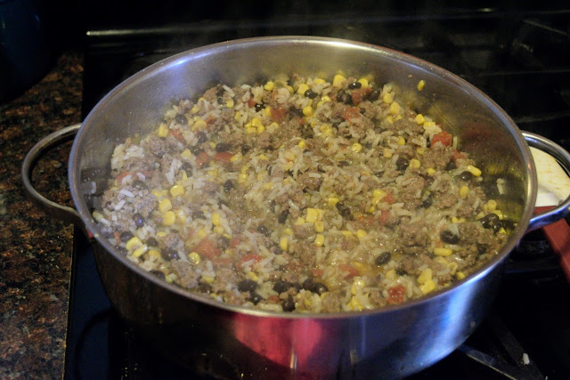 The Mexican Fried Rice in the pan.