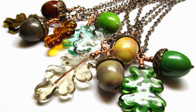 Lampwork glass 'Acorn & Oak Leaf' necklaces by Laura Sparling