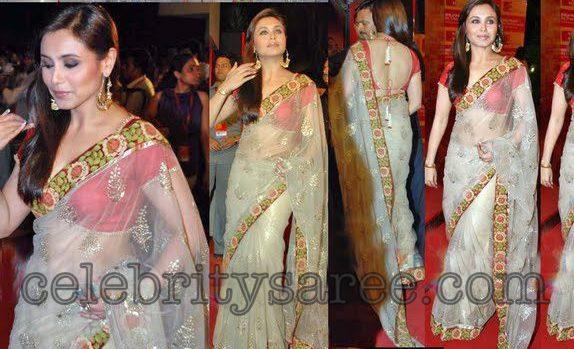 fe8895992c4155 Rani Mukherjee in Netted Patch Work Saree - Saree Blouse Patterns