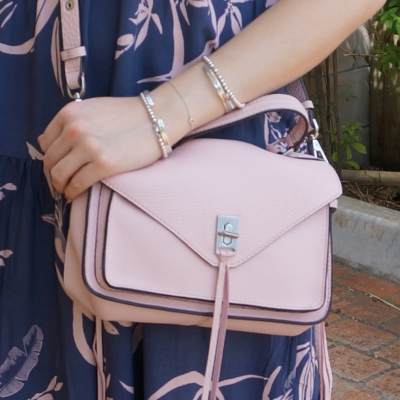blue and blush dress with Rebecca Minkoff small Darren messenger bag in peony | awayfromtheblue