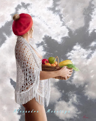 mujer semidesnuda con fruta la oleo