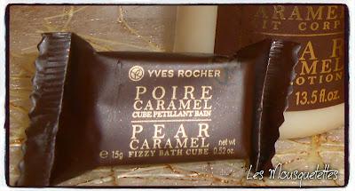 Poire Caramel cube pétillant - Yves Rocher - Blog beauté Les Mousquetettes©
