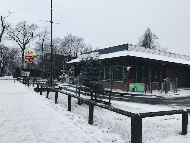Mcdonalds covered in snow