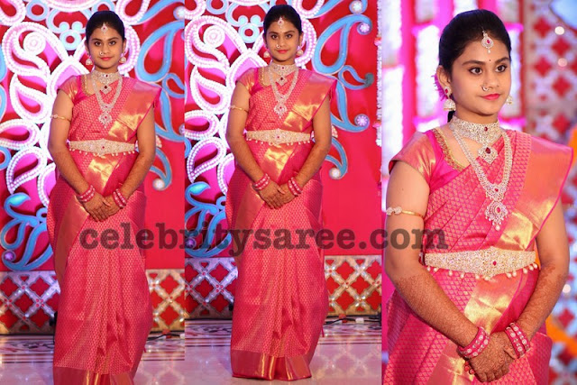 Pretty Girl in Pink Kanjeevaram Saree