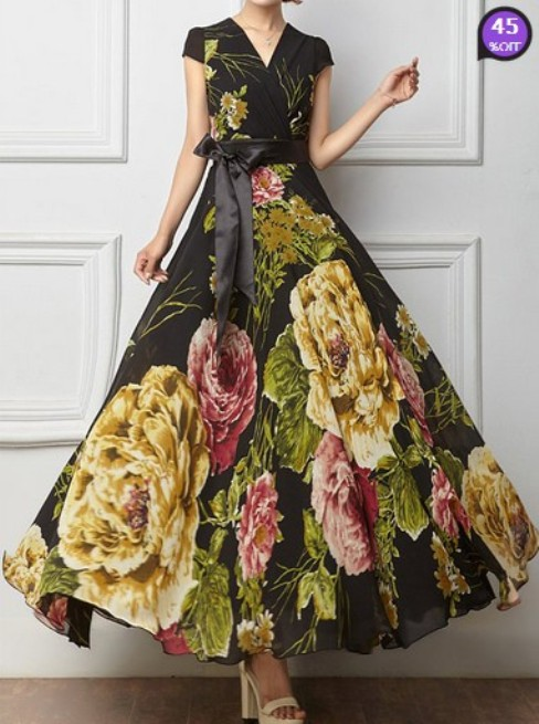 Surplice Belt Printed Maxi Dress (Price:$ 25.28)