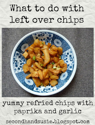 My favourite way to eat left over chips. By UK vegan blogger secondhandsusie.blogspot.com #veganblogger #ukveganblogger #loveyourleftovers #chips #vegancooking
