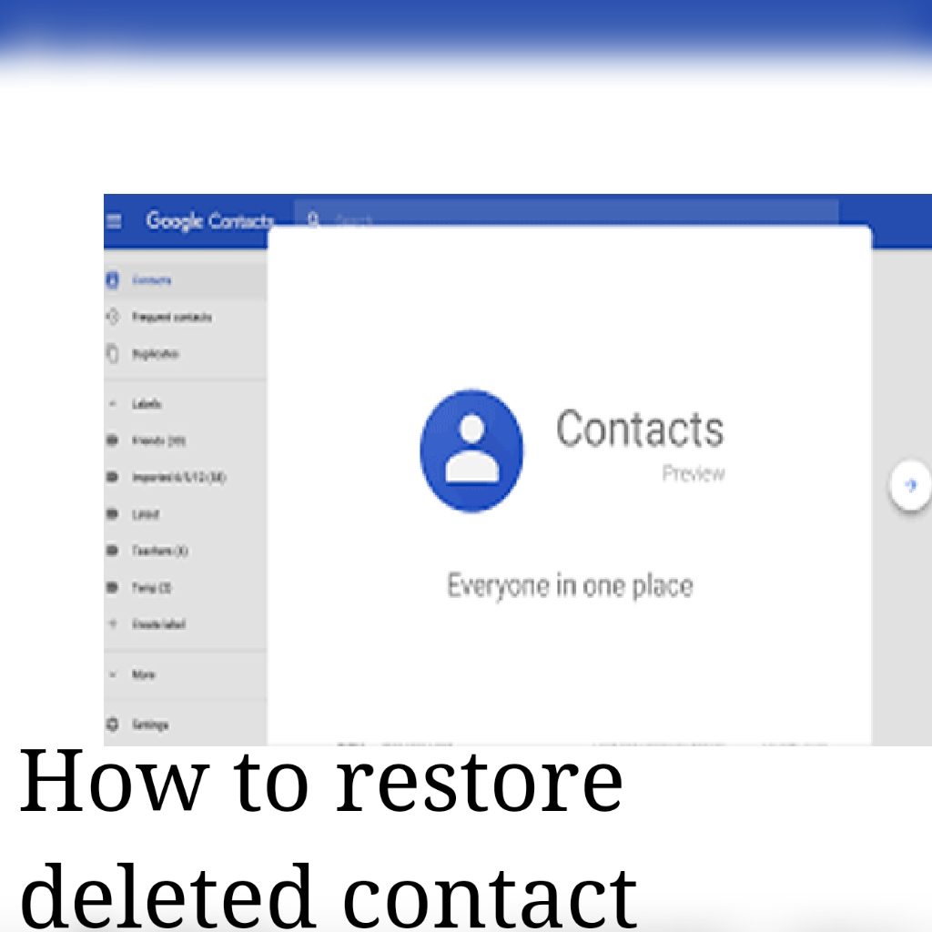 How to restore contact