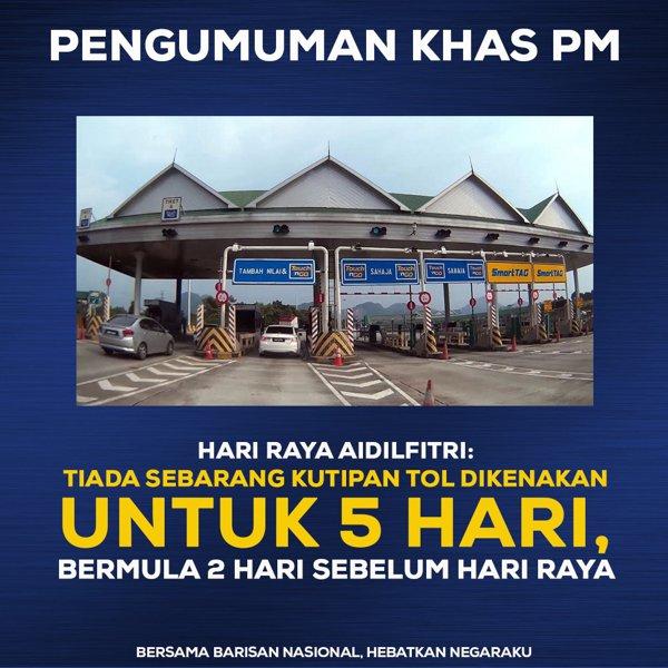#PRU14: Amanat Najib Razak - Tol percuma pada aidilfitri 2018