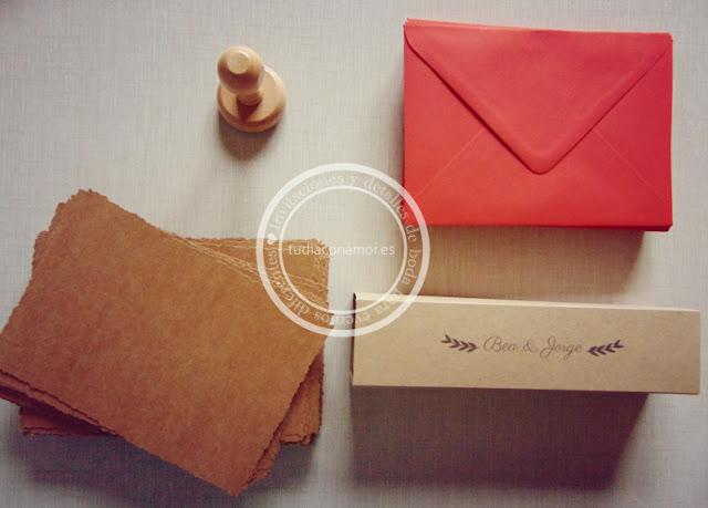 Tarjetas kraft vintage para invitaciones de boda