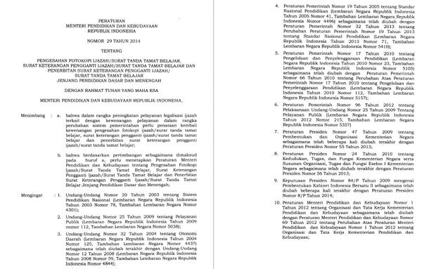 Permendikbud Tentang Legalisir Ijasah SD, SMP, SMA, SMK - Permendikbud No 29 Tahun 2014