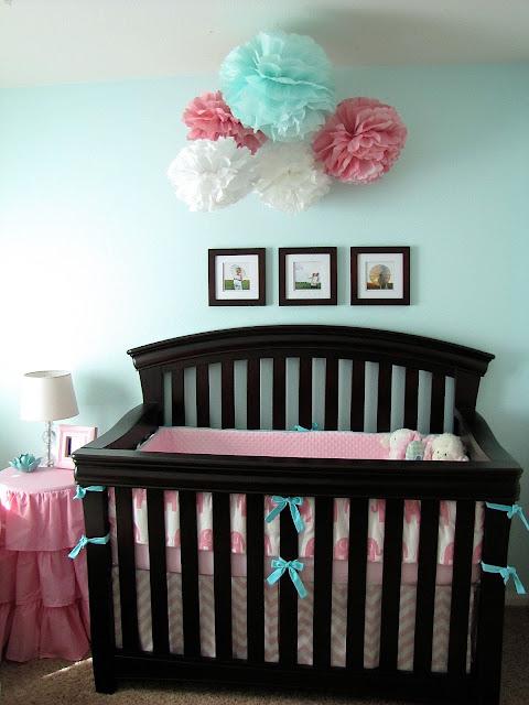 pink and aqua elephant nursery decor