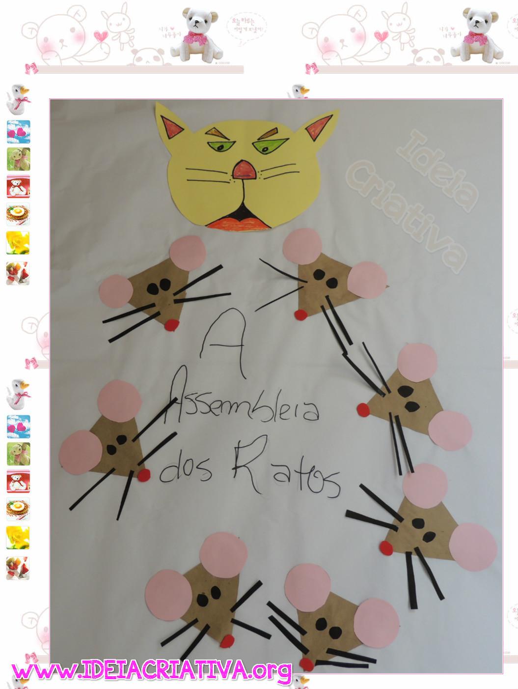 Painel Fábula A Assemb leia dos Ratos Monteiro Lobato Rato de Formas Geométricas