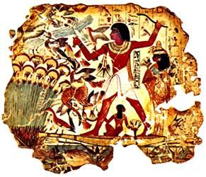 Detalle de una pintura mural de una tumba en Tebas, Egipto, c. 1450 a.
