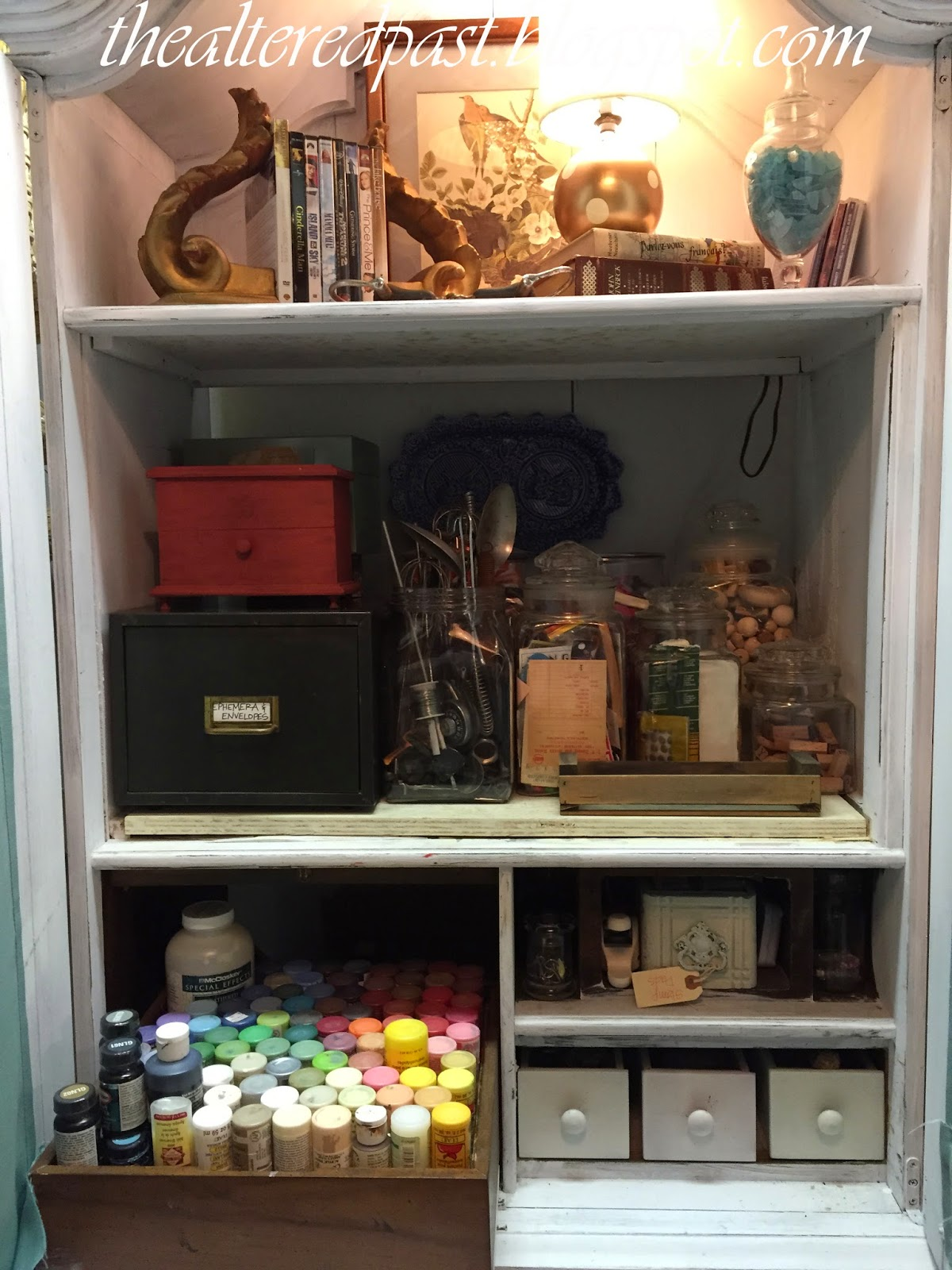 old stereo cabinet turned craft storage cabinet, the altered past blog