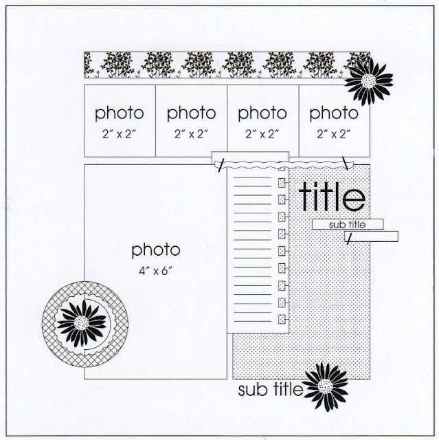 PageMaps 5-photo Scrapbook Layout Sketch by Beck Fleck.