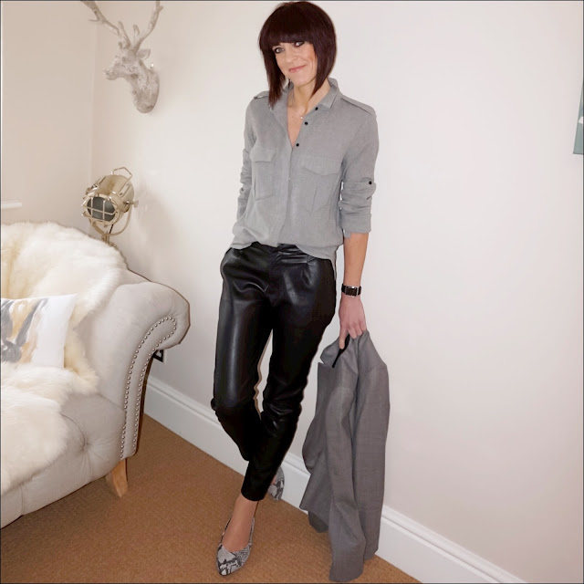 My Midlife Fashion, Mango military style shirt, zara faux leather trousers, j crew regent blazer, vionic caballo shoes
