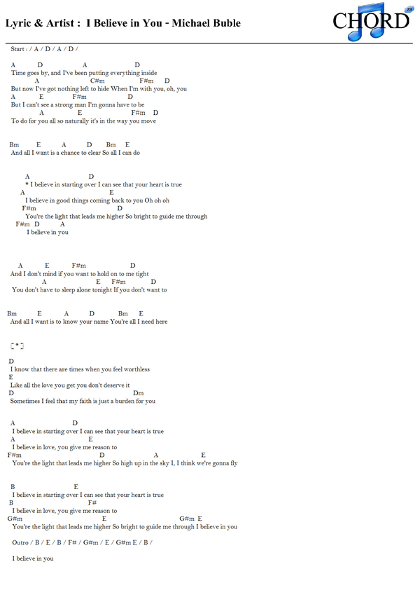 Lyric i believe in you lyrics : คอร์ด เนื้อเพลง I Believe in You Michael Buble Chordza | คอร์ดเพลง ...