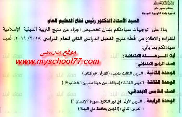 الدروس المحذوفة فى التربية الاسلامية جميع الصفوف ابتدائي واعدادى ترم ثاني ٢٠١٩