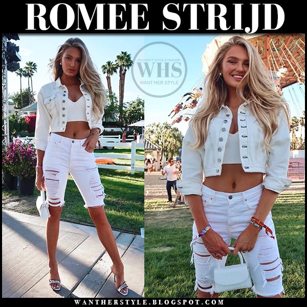 Romee Strijd in white cropped LPA jacket, white denim Grfrlnd ripped biker shorts and Sergio Rossi sandals. Coachella celebrity outfits 2019