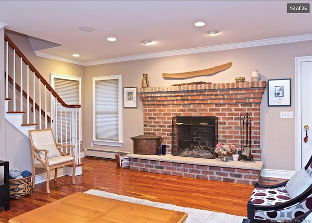 living room fireplace and staircase of Aladdin Yale kit house  •21 Amundsen St Norwalk CT