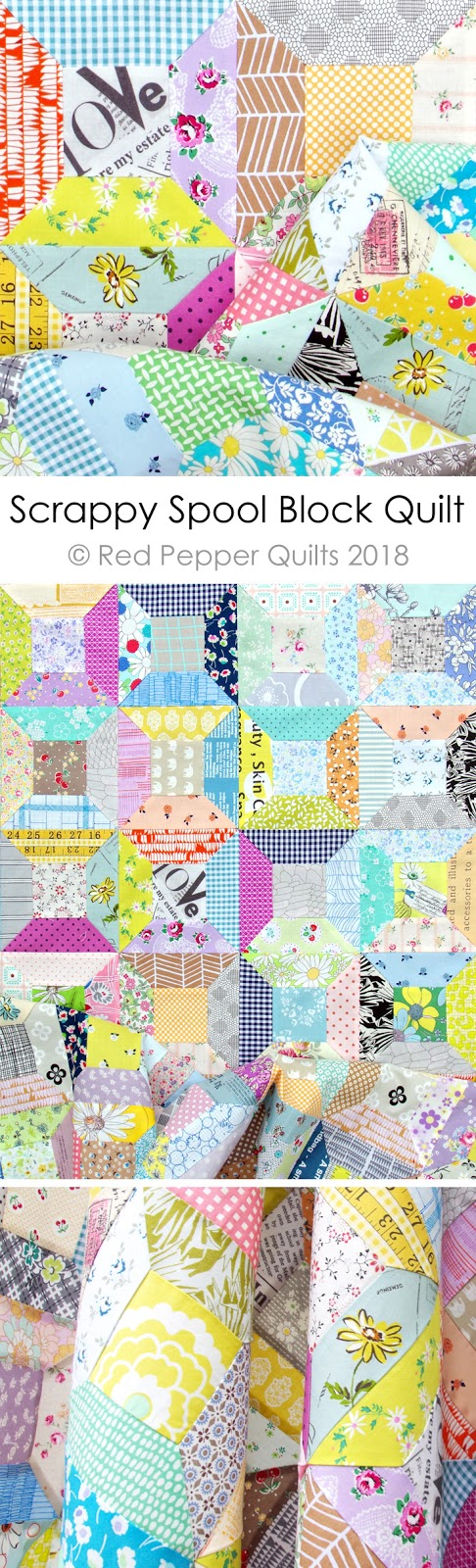 Scrappy Spool Block Quilt - with link to Spool Block with Inset Seams Tutorial | © Red Pepper Quilts 2018 #patchworkquilt #spoolblockquilt #quiltblock #sewingtutorial #redpepperquilts #scrapquilt