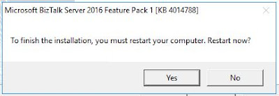 BizTalk feature Pack1 instalation complete restart