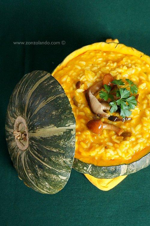 Risotto alla zucca e funghi ricetta cremosa - mushroom and pumpkin risotto creamy recipe