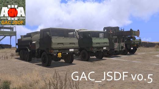 Arma3 用自衛隊 MOD の3.5 トン トラックや資材運搬車
