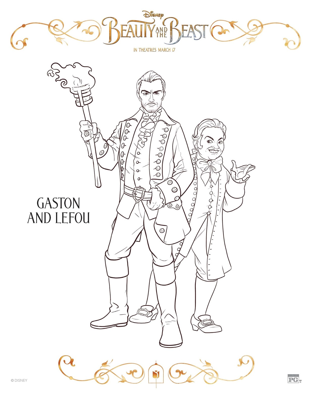 FREE BEAUTY AND THE BEAST COLORING SHEET