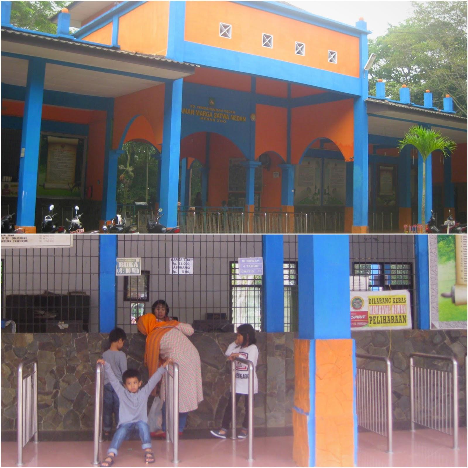 Loket pembayaran untuk bisa masuk ke kebun binatang di Medan