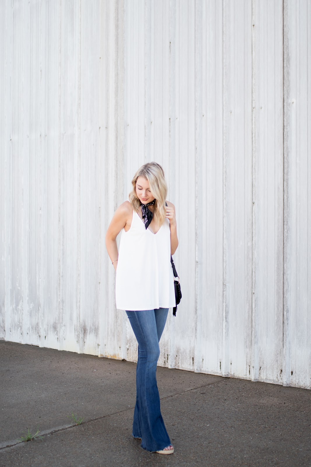 Flare jeans with a tank
