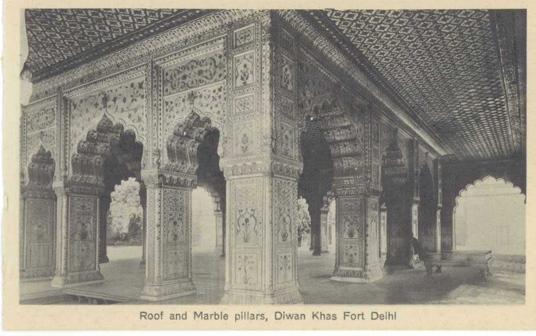 An Angular View of the Roof and Magnificent Marble Pillars of the Diwan-i-Khas in Red Fort, Delhi