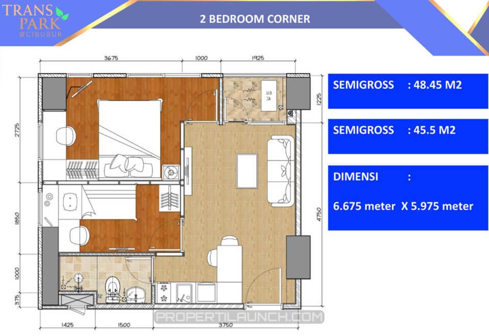 Tipe 2 BR Sudut Apartemen Trans Park Cibubur