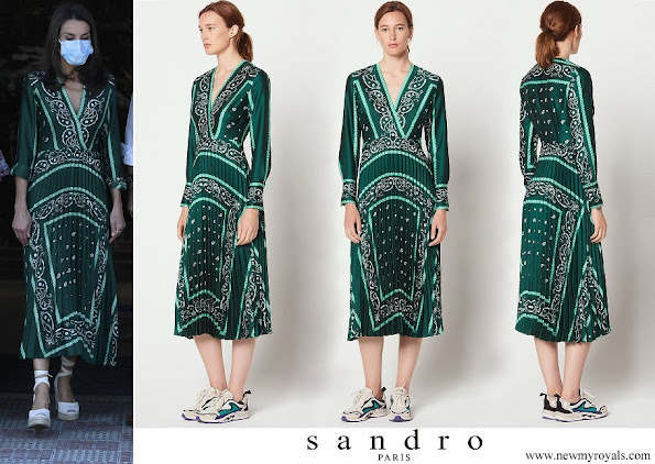 Queen Letizia wore Sandro long dress with scarf prints