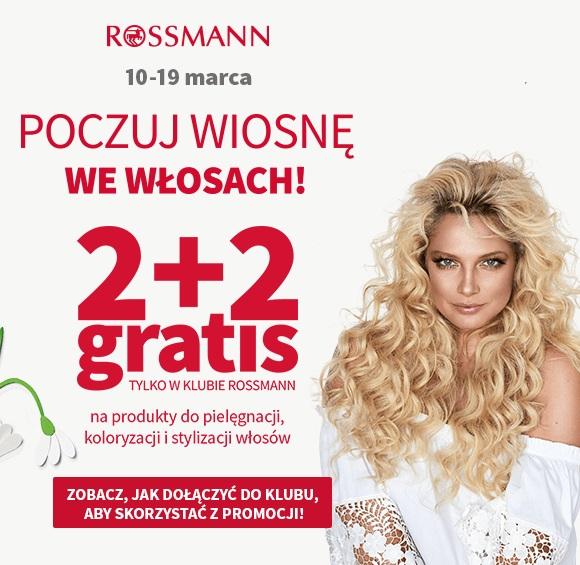 Rossmann 2+2 promocja na kosmetyki do pielęgnacji, koloryzacji i stylizacji włosów - marzec 2018