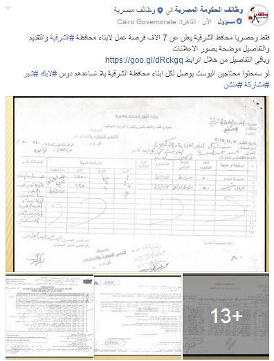 محافظ الشرقية يعلن عن 7 الاف فرصة عمل للشباب بمحافظة الشرقية 7 / 1 / 2018